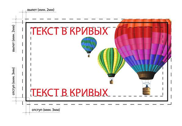 требования к макету визитки для передачи её в типографию, вылеты и отступы