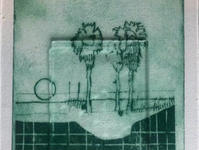 Hauntology no. 2  Ink on paper, glass 17*24 cm A detail from an etching series June 2020  These prints of landscapes are inspired by a silhouette of a family photo from which a person was removed. A dreamy landsacape apears instead of the missing part. The glass reframes a new image and draws attention to what is included in the frame and what's not.