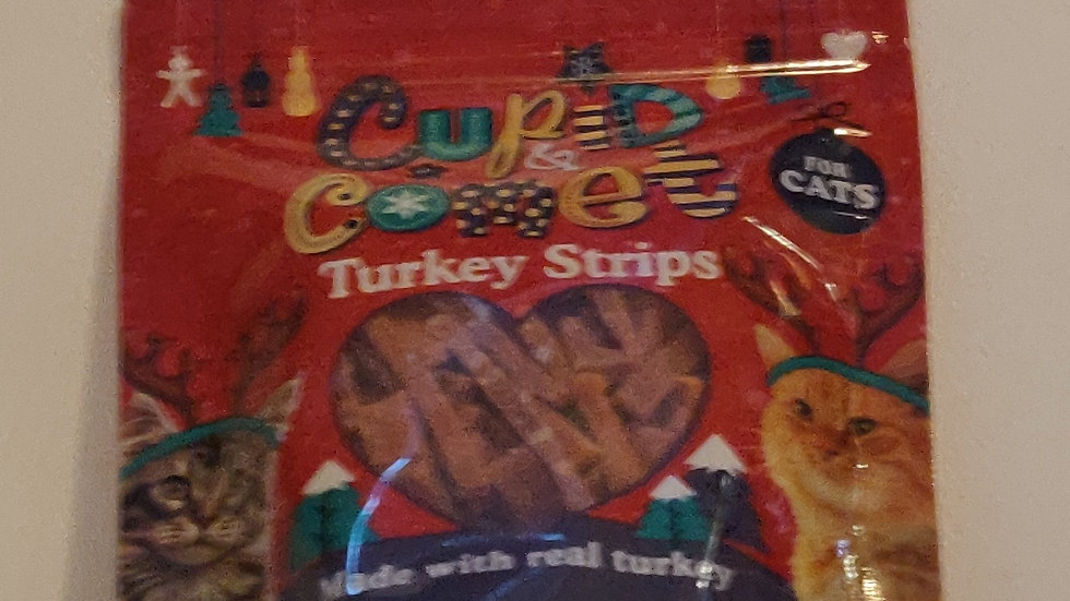 Cupid and Comet Turkey Strips for Cats