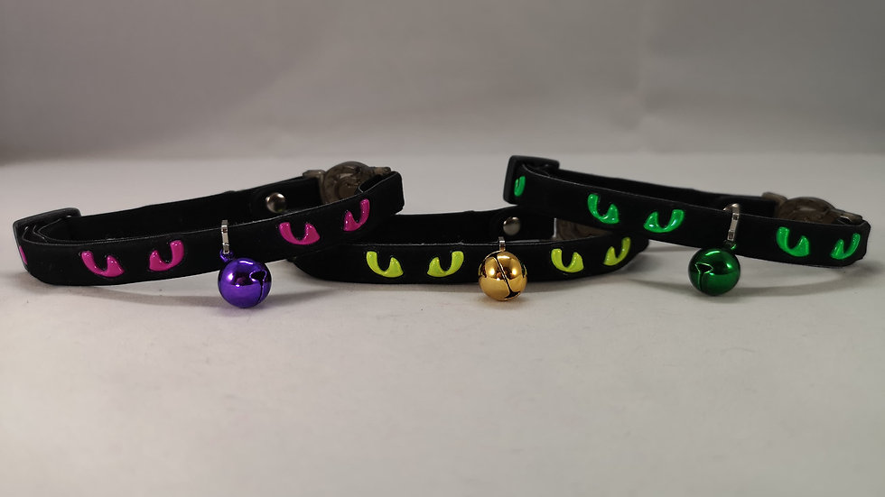 Rosewood Cat Collar with Reflective Eyes