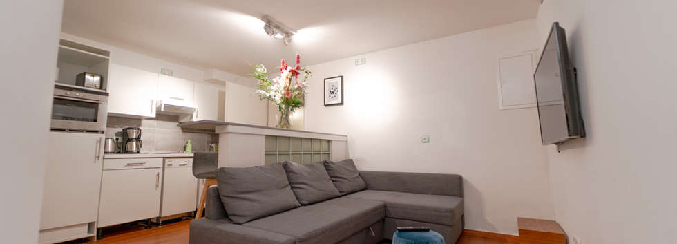 Küchenbereich mit Bartresen und Sofabett