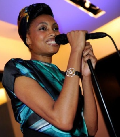 Singer Imany wearing Rock and Lace bracelet
