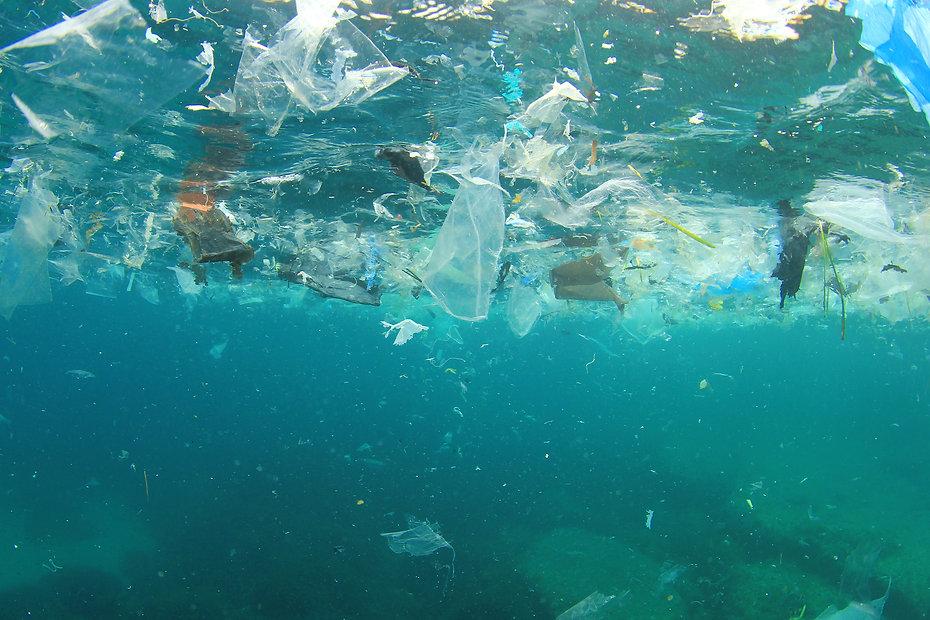 Plastic rubbish pollution in ocean envir