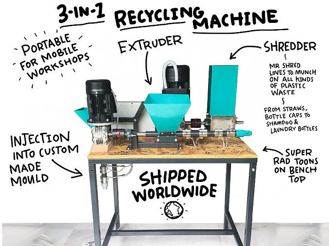 3-in-1 Plastic Recycling Machine at The Sea Monkey Project