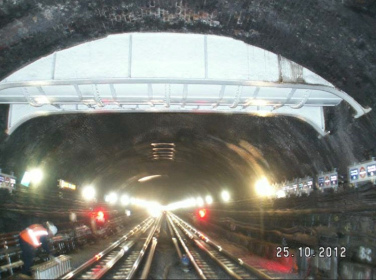 A sewer passing through a Metropolitan line tunnel