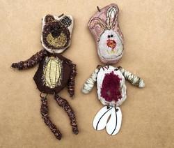 handsewn bear & rabbit