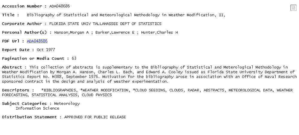 Bibliography of Statistical and Meteorological Methodology in Weather Modificati