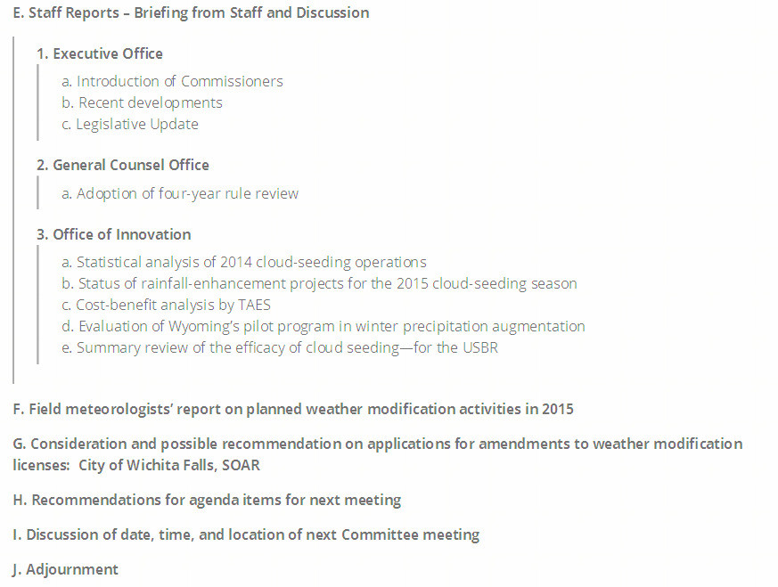 Texas Weather Modification Advisory Committee Meeting Agenda April 30, 2015 deta