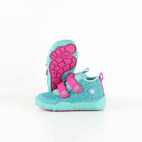Affenzahn Owl Low Boot Knit Green/Pink Velcro