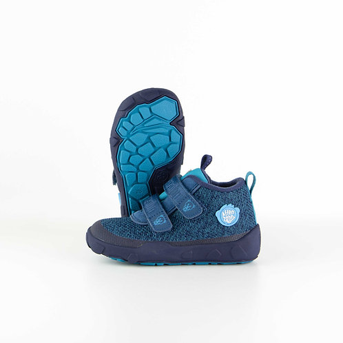 Affenzahn Low Boot Knit Bear Textil Blue Saphire Velcro
