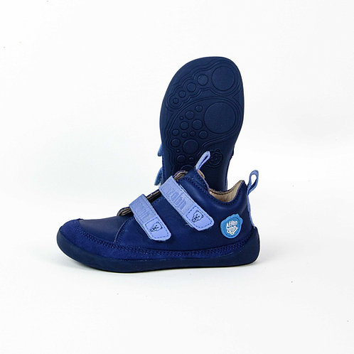 Affenzahn Bear Minimal Low-cut Leather Blue Velcro