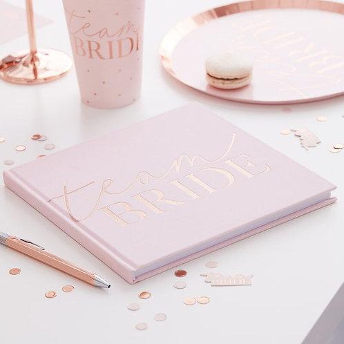 Ginger Ray Pink Blush Velvet Team Bride Hen Party Guest Book