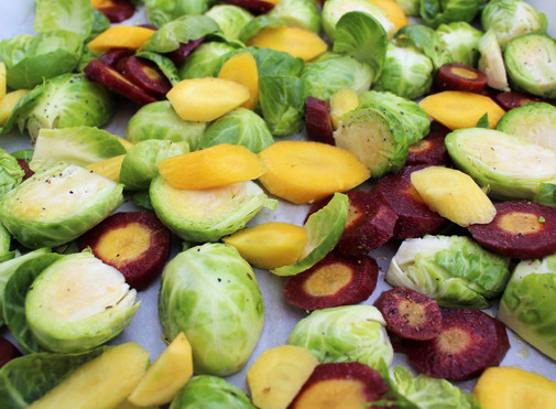Roasted Brussels Sprouts and Rainbow Carrots