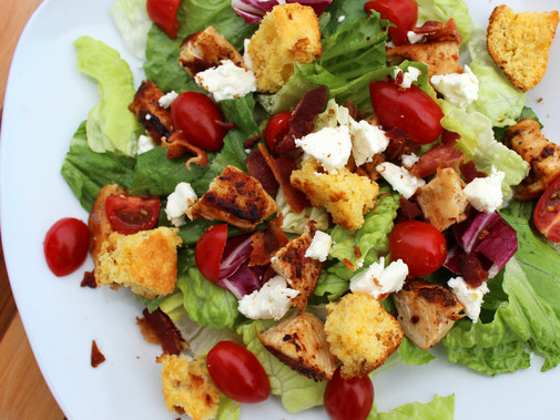 BLT Chicken Salad with Cornbread Croutons