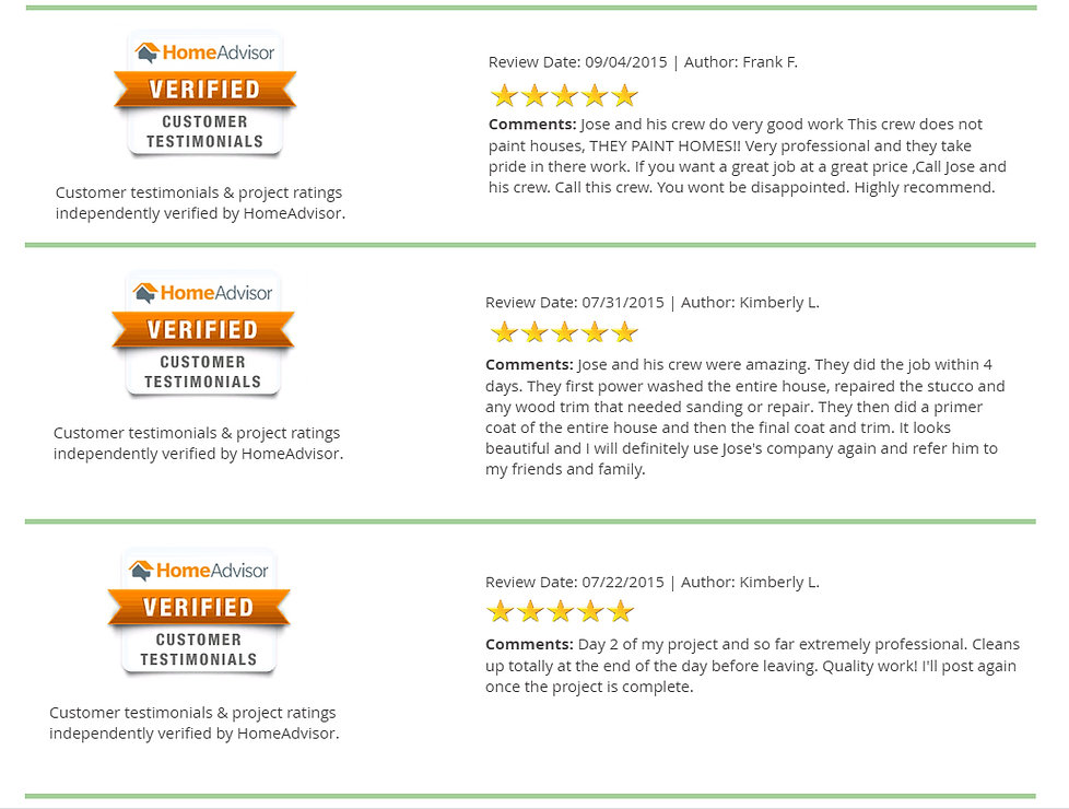 homeadvisor client feedbacks regarding my jobs done for them