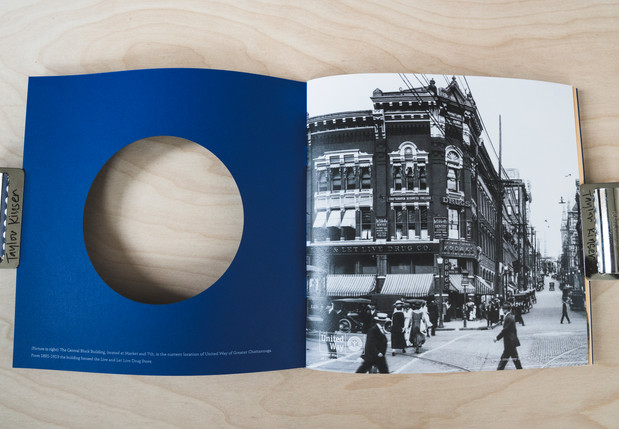 """Inside spreads carried the """"then & now"""" theme throughout."""