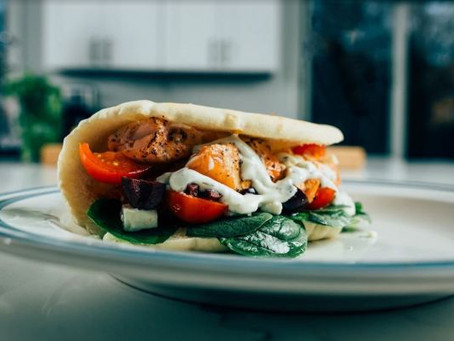 Grilled Mediterranean Cedar Plank Salmon Gyro Recipe