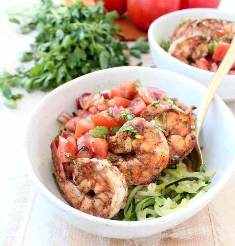 Shrimp Bruschetta Zoodle Bowls