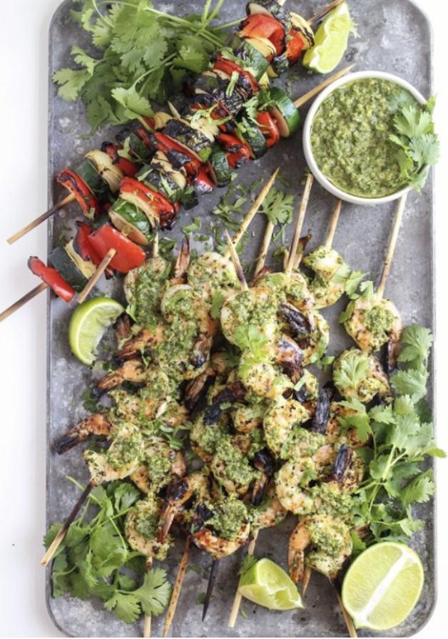 Chimichurri Grilled Shrimp Skewers