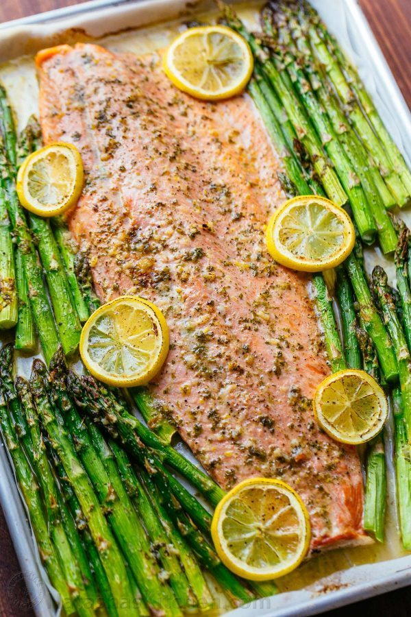 One-Pan Salmon and Asparagus with Garlic Herb Butter
