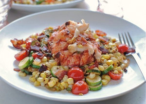 Seared Lobster Tails with a Garden Vegetable Sauté