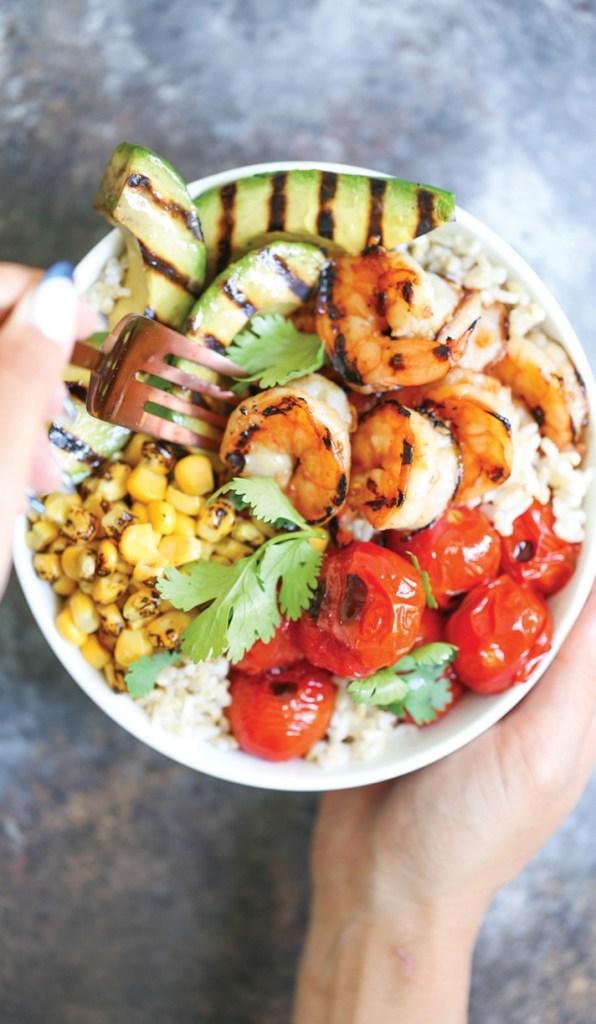 Grilled Honey Garlic Shrimp Bowls