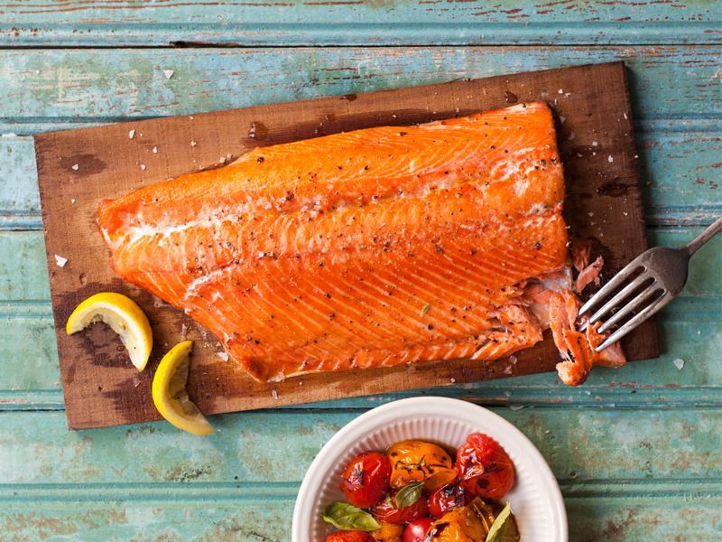 cedar planked salmon - great american international seafood market