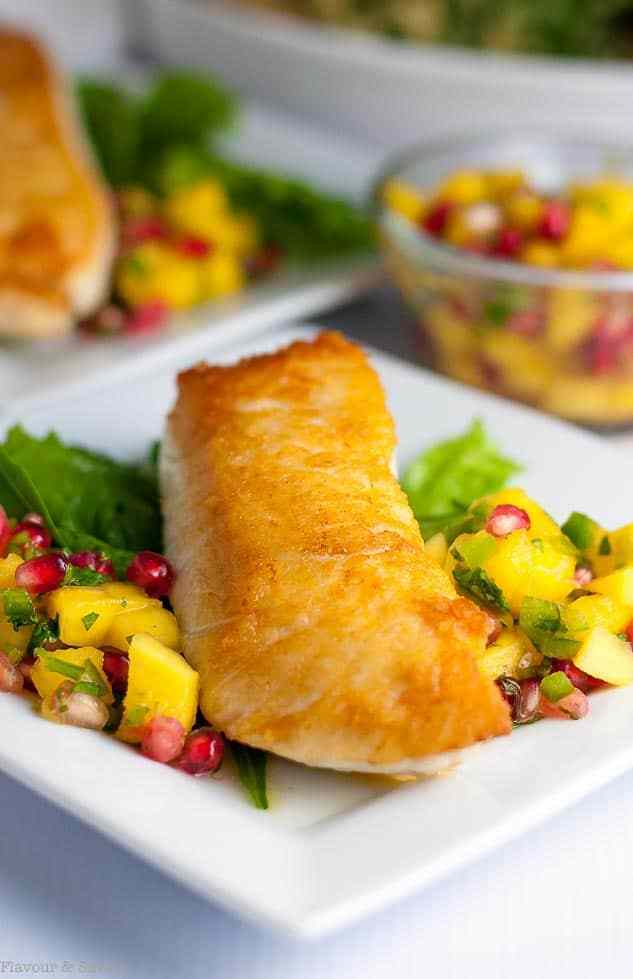 Crusted Halibut with Mango Pomegrana