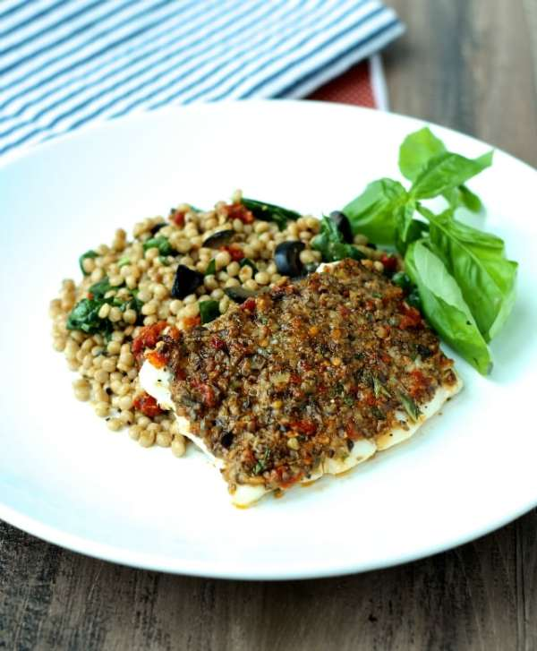 Olive and Sun-Dried Tomato-Crusted F