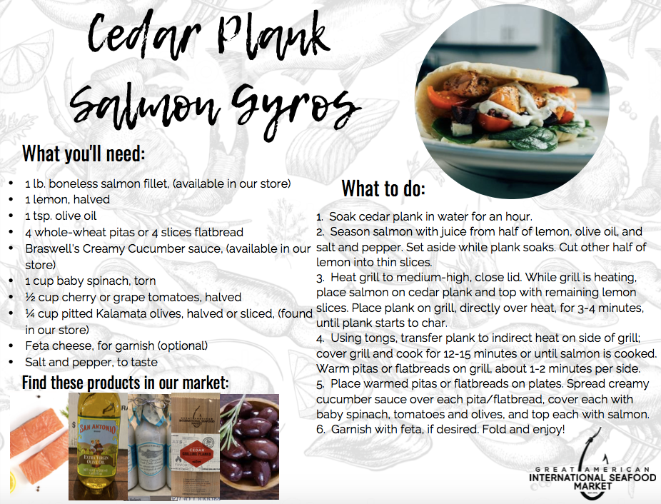 cedar plank salmon gyros