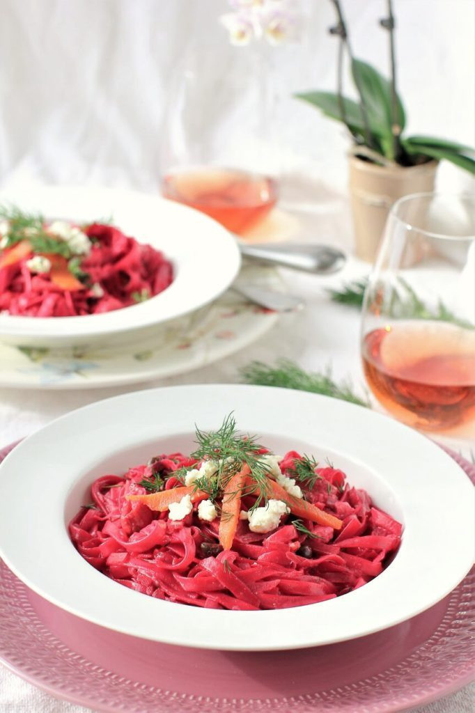 gluten free fettuccine with beet smoked salmon and feta