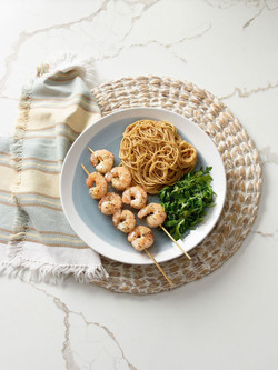 Grilled Shrimp and Pasta with Lemon-Garlic Sauce