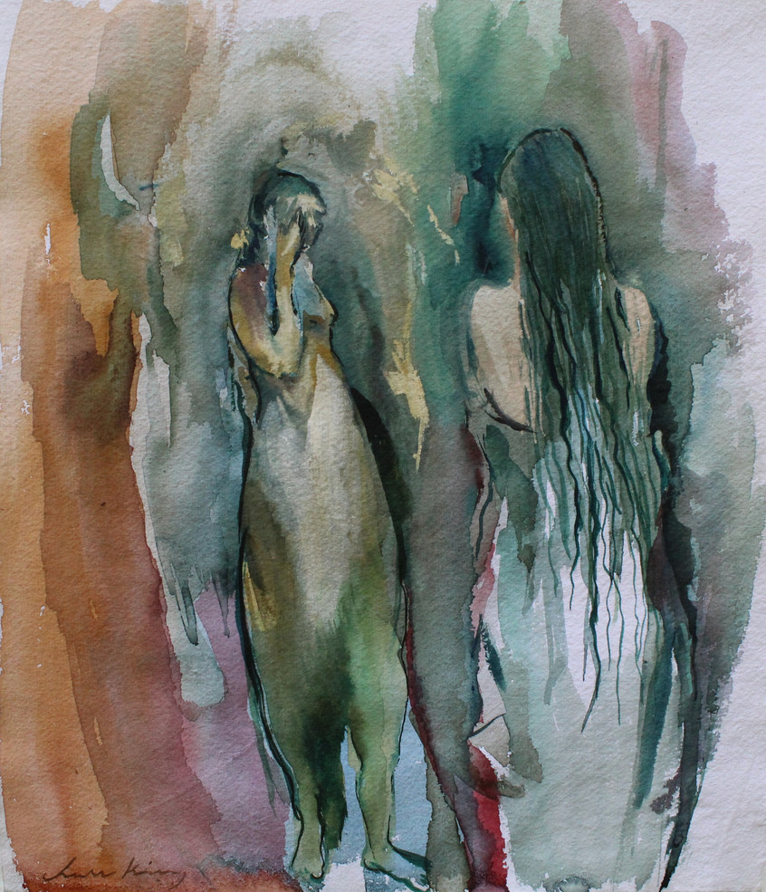 Bathers_watercolor on paper_13_x11.5__20