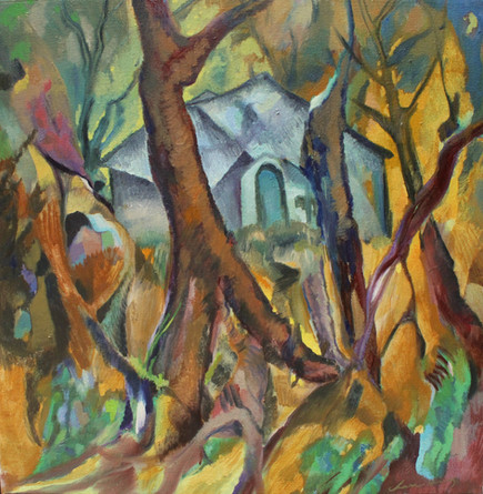 House in the Woods_oil on canvas_24_x24_