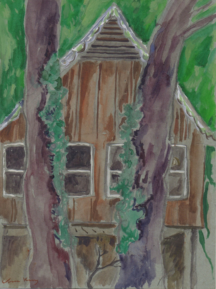 Carriage House_graphite and watercolor o