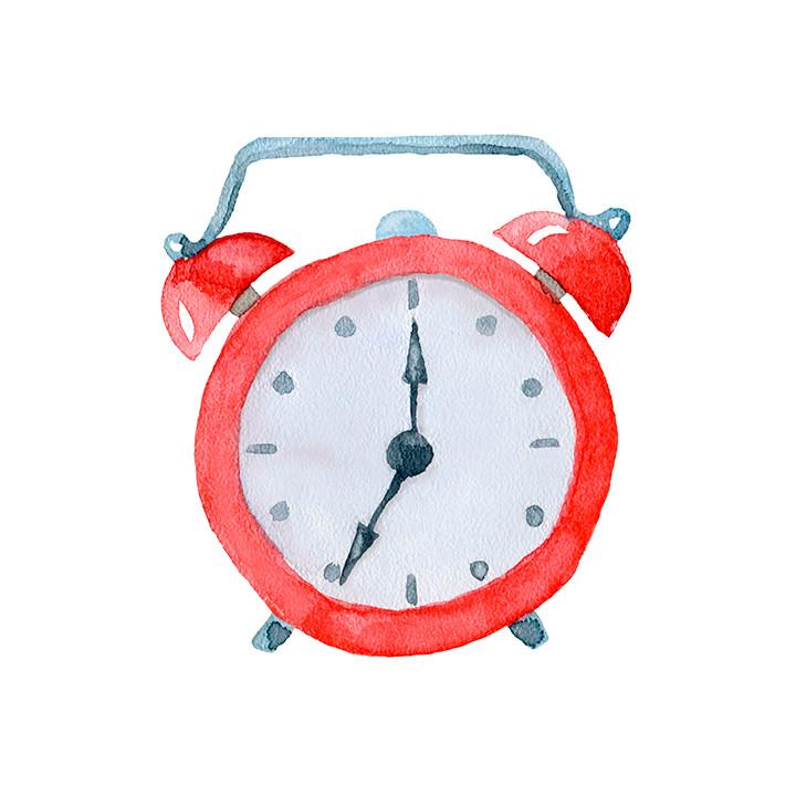 Watercolor illustration of alarm clock.