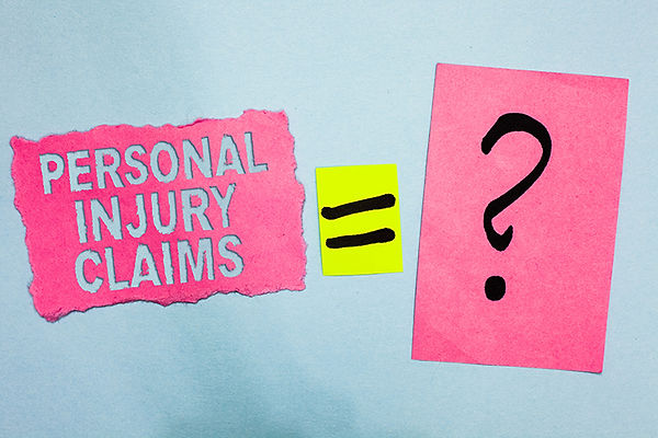 A graphic with Personal Injury Claims equals questionmark