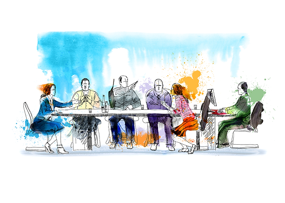 A watercolor illustartion of business people at a conference table