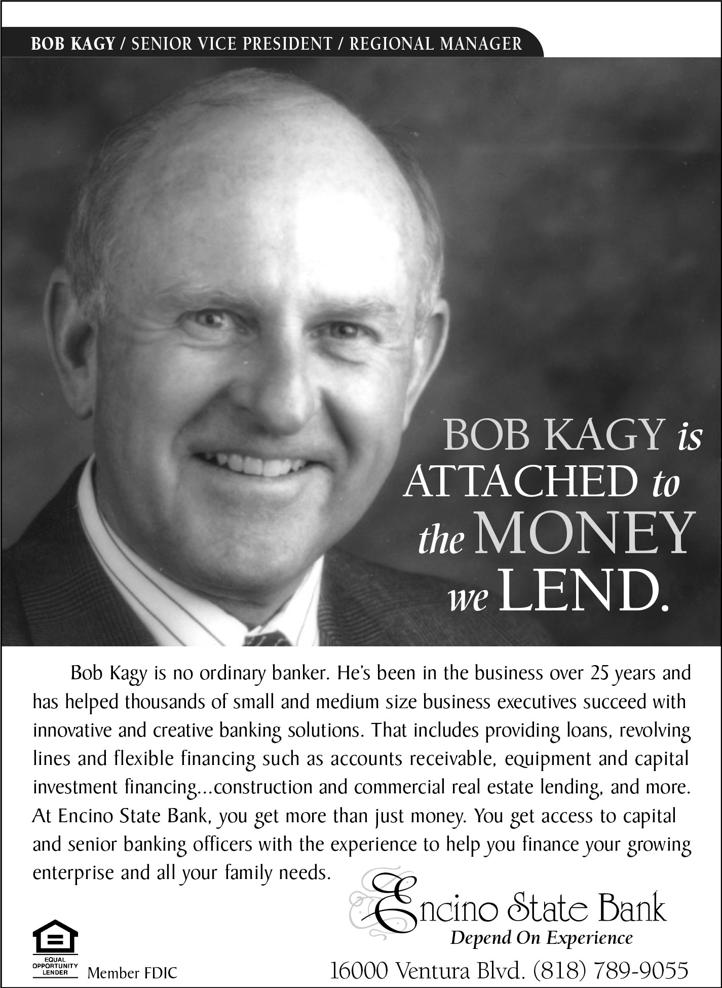 Encino Bank Flyer Bob Kagy