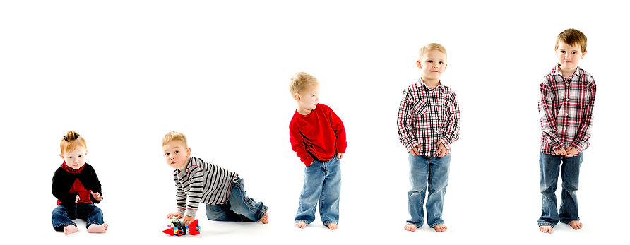 A grouping of boys from toddler to 5 year old