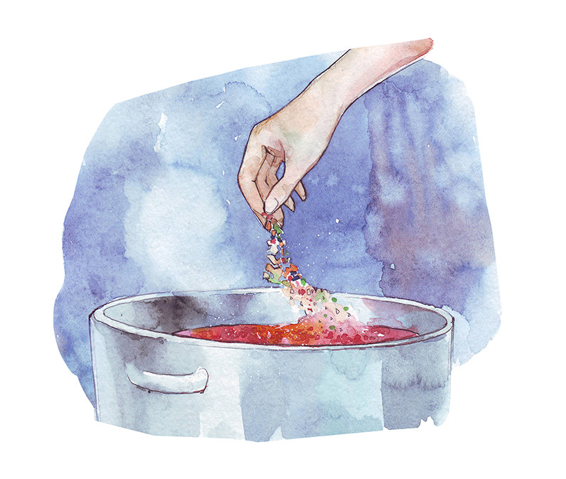 Watercolor illustration of hands sprinkling ingredients into pot.