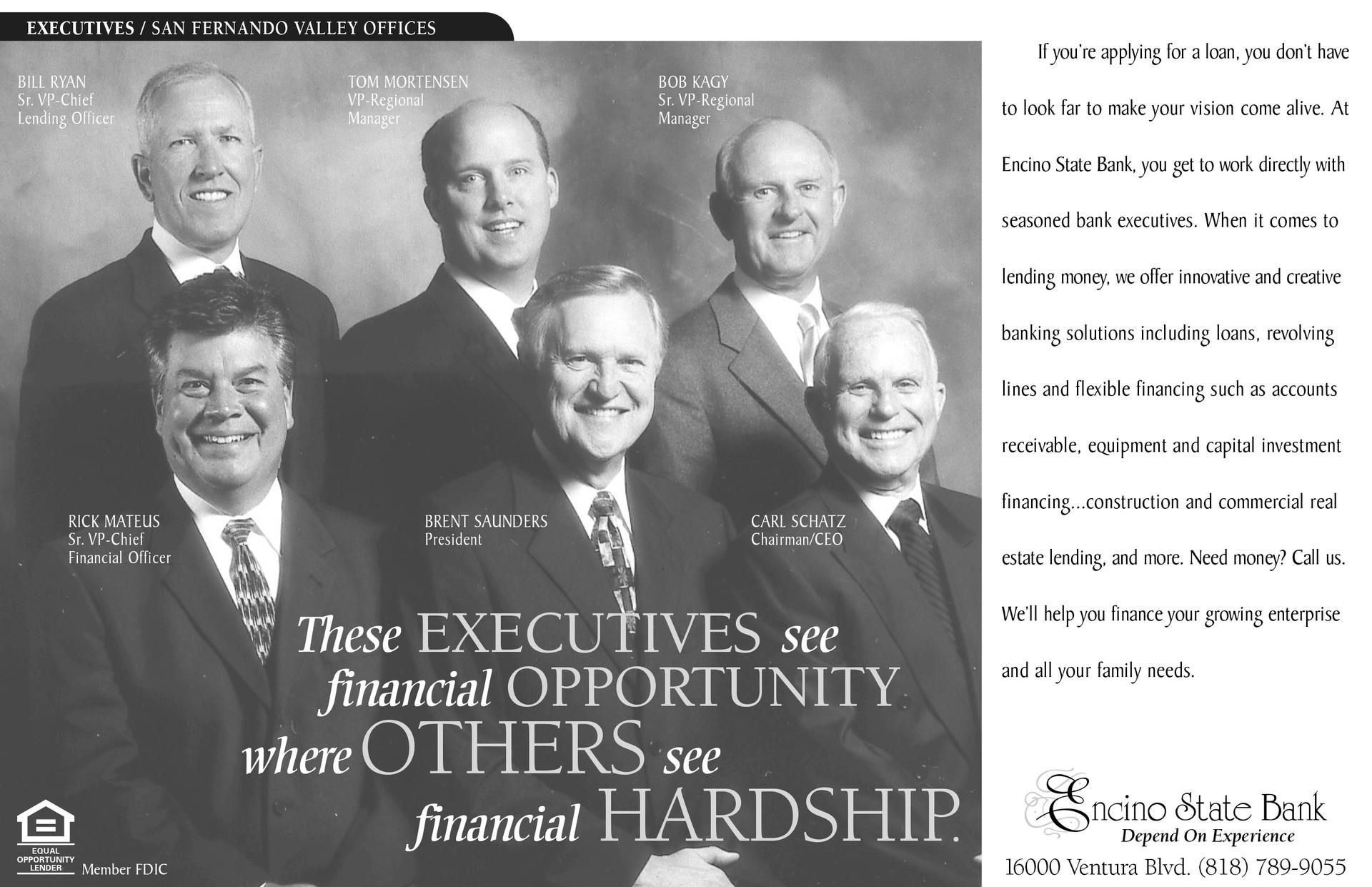 Encino Bank Flyer Executives