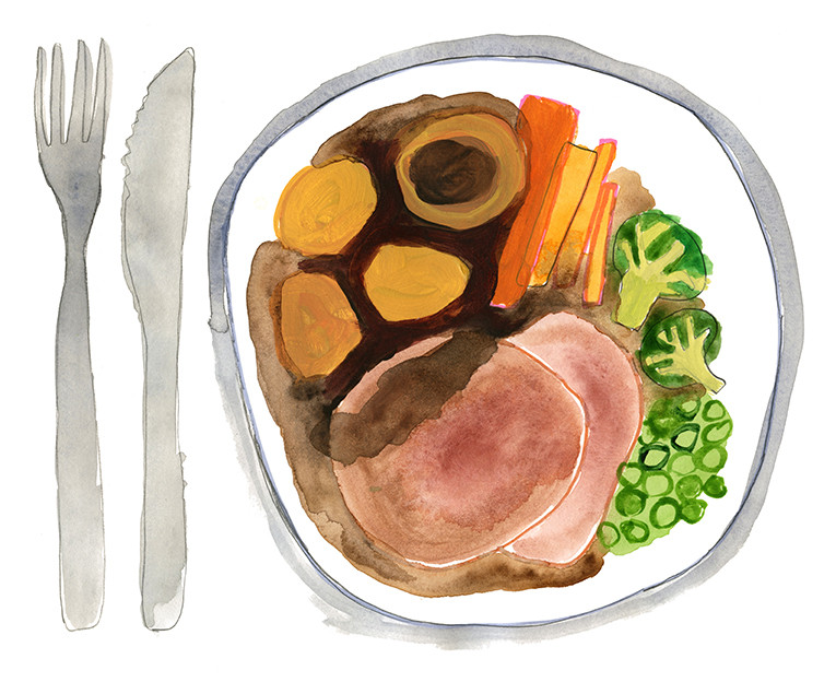 Watercolor illustration of a plate of food.