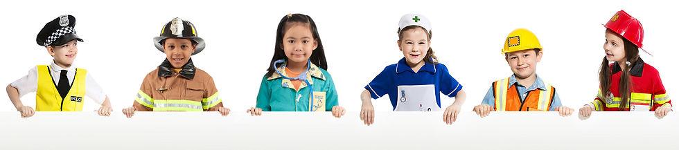 Children dressed as firefighters, nurses, doctors