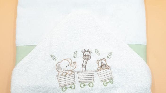 Toalhão com capuz forrado bordado Linha Tradicional Leobaby