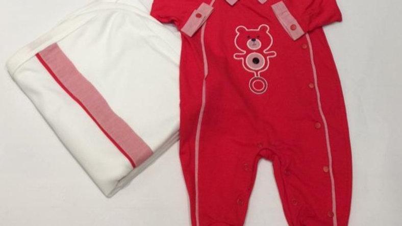 Saída de maternidade vermelho Baby Fashion P