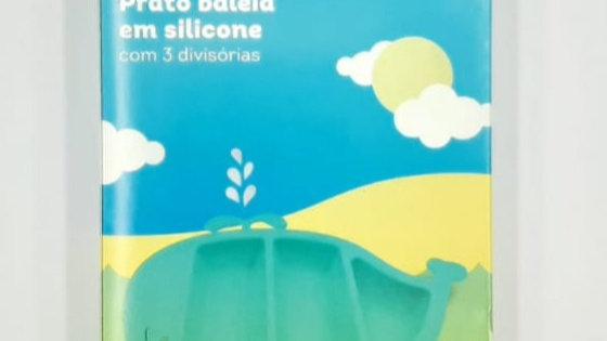 Prato silicone baleia com 3 divisórias Girotondo