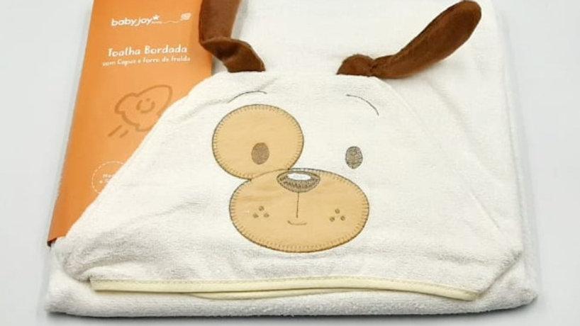Toalha bordada com capuz e forro de fralda cachorrinho Baby Joy