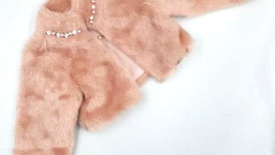 Bolero de pelo rosê com pedra e pérola rosa 03 Bambollina