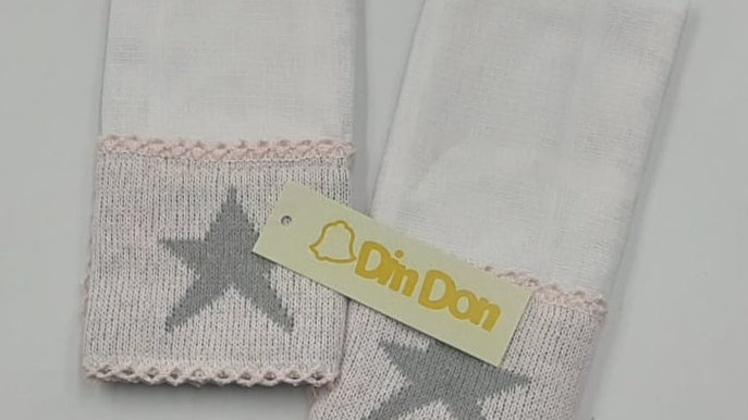 Pano de boca com 02 un tricot rosa Din Don